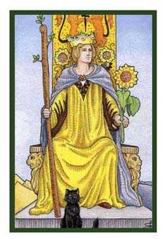Queen of Staves Tarot Card - Epicurean Tarot Recipe Cards Tarot Deck