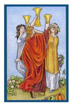 Three of Hearts Tarot Card - Epicurean Tarot Recipe Cards Tarot Deck