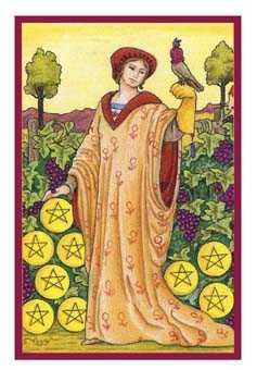 Nine of Coins Tarot Card - Epicurean Tarot Recipe Cards Tarot Deck
