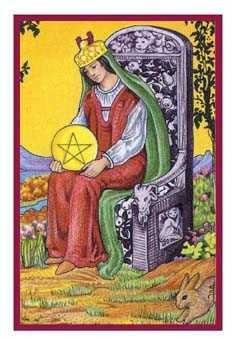 Queen of Coins Tarot Card - Epicurean Tarot Recipe Cards Tarot Deck