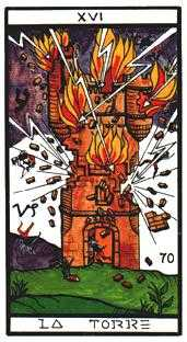 The Falling Tower Tarot Card - Esoterico Tarot Deck