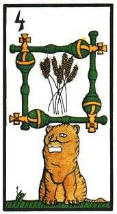 Four of Batons Tarot Card - Esoterico Tarot Deck