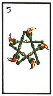 Five of Staves Tarot Card - Esoterico Tarot Deck