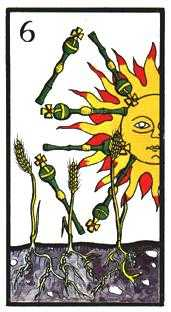Six of Clubs Tarot Card - Esoterico Tarot Deck