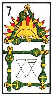 Seven of Rods Tarot Card - Esoterico Tarot Deck