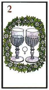 Two of Hearts Tarot Card - Esoterico Tarot Deck