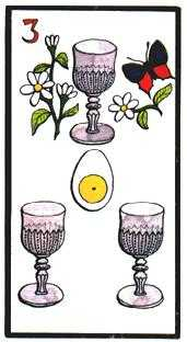 Three of Bowls Tarot Card - Esoterico Tarot Deck