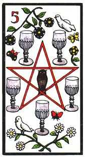 Five of Hearts Tarot Card - Esoterico Tarot Deck
