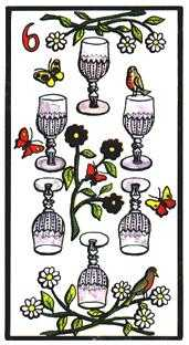 Six of Hearts Tarot Card - Esoterico Tarot Deck