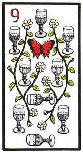 Nine of Hearts Tarot Card - Esoterico Tarot Deck