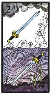 Two of Wind Tarot Card - Esoterico Tarot Deck