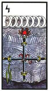 Four of Arrows Tarot Card - Esoterico Tarot Deck