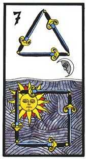 Seven of Arrows Tarot Card - Esoterico Tarot Deck