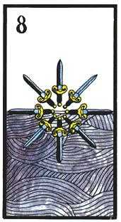 Eight of Spades Tarot Card - Esoterico Tarot Deck