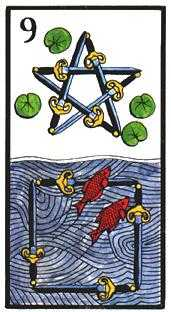 Nine of Arrows Tarot Card - Esoterico Tarot Deck