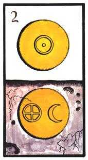 Two of Coins Tarot Card - Esoterico Tarot Deck