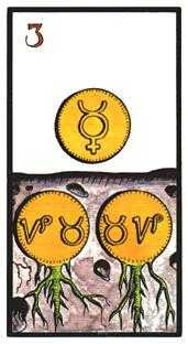 Three of Coins Tarot Card - Esoterico Tarot Deck