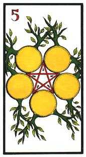 Five of Coins Tarot Card - Esoterico Tarot Deck