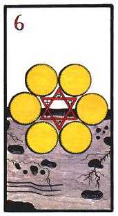 Six of Coins Tarot Card - Esoterico Tarot Deck