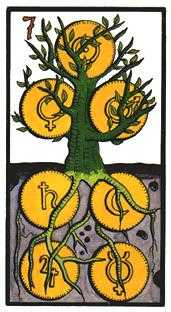 Seven of Pentacles Tarot Card - Esoterico Tarot Deck