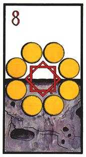 Eight of Coins Tarot Card - Esoterico Tarot Deck