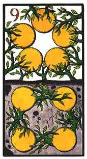 Nine of Coins Tarot Card - Esoterico Tarot Deck