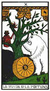 Wheel of Fortune Tarot card in Esoterico deck