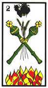 Two of Wands Tarot card in Esoterico deck