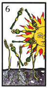 Six of Wands Tarot card in Esoterico deck
