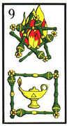 Nine of Wands Tarot card in Esoterico Tarot deck