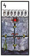 Four of Swords Tarot card in Esoterico deck