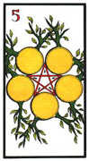 Five of Coins Tarot card in Esoterico deck