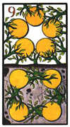 Nine of Coins Tarot card in Esoterico deck