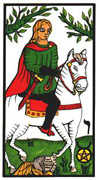 Knight of Coins Tarot card in Esoterico deck