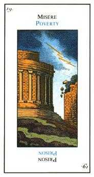The Falling Tower Tarot Card - Etteilla Tarot Deck