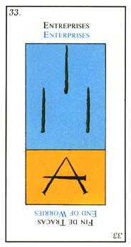 Three of Pipes Tarot Card - Etteilla Tarot Deck