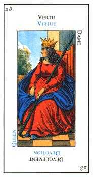 Queen of Clubs Tarot Card - Etteilla Tarot Deck