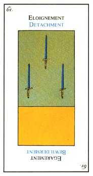 Three of Arrows Tarot Card - Etteilla Tarot Deck