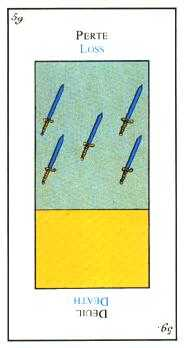 Five of Spades Tarot Card - Etteilla Tarot Deck