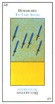 Six of Arrows Tarot Card - Etteilla Tarot Deck
