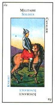 Knight of Spades Tarot Card - Etteilla Tarot Deck