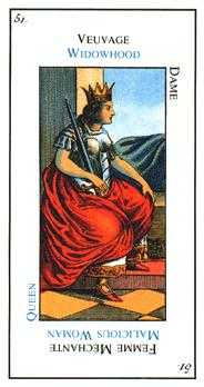 Queen of Arrows Tarot Card - Etteilla Tarot Deck