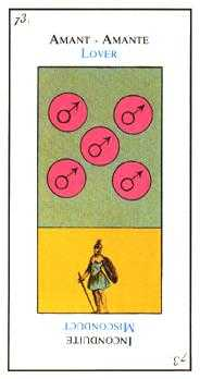 Five of Discs Tarot Card - Etteilla Tarot Deck