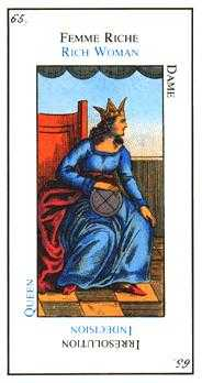 Queen of Coins Tarot Card - Etteilla Tarot Deck