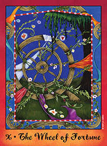 The Wheel of Fortune Tarot Card - Faerie Tarot Deck