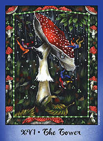 The Falling Tower Tarot Card - Faerie Tarot Deck