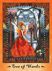 Two of Staves Tarot Card - Faerie Tarot Deck
