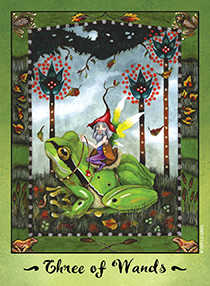 Three of Sceptres Tarot Card - Faerie Tarot Deck