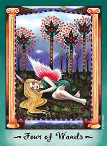 Four of Pipes Tarot Card - Faerie Tarot Deck