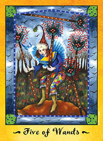 Five of Rods Tarot Card - Faerie Tarot Deck